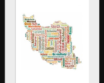 Iran Map Typography Color 2 Map Poster Print