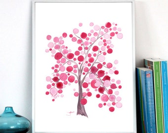 Watercolor Painting art - Pink Party Tree - watercolor, tree of life, nursery gift, nursery decor, favor, wall art, Art Print, pink birds