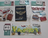VACATION TIME, PASSPORT Jolee's Boutique Scrapbooking Supplies stickers - Tourist, airplane, camera