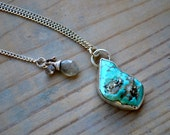 turquoise druzy with pyrite cabochon on sterling silver chain with decorated clasp