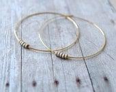 Hoop Earrings, Gold Plated Hoops with 14k Gold Filled Stardust Rondelle Beads, Gold Hoop Earrings,