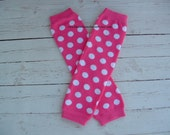 Baby Leg Warmers Bright Pink with White Polka Dots Baby Girl Toddler