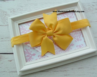 Baby Girl Yellow Hair Bow and Stretchy Interchangeable Headband