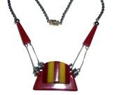 1930s German Industrial Bakelite & Chrome Necklace.  Jakob Bengel Style.  Galalith, Bakelite, Chrome.