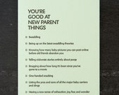 new parent: you're good at things. letterpress card. #387