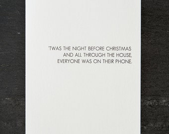 holiday wish: everyone was on their phone. letterpress card. red envelope. graeber. #702