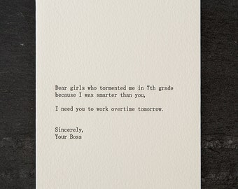 girls/boss. letterpress card. #251
