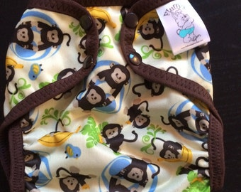Playful Monkeys Polyester PUL Cloth Diaper Cover With Aplix Hook & Loop Or Snaps You Pick Size XS/Newborn, Small, Medium, Large, or One Size