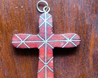 Vintage Mahogany Wood and Inlay Brass Rosary Cross