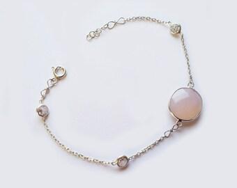 Pink quartz stylish sterling silver bracelet