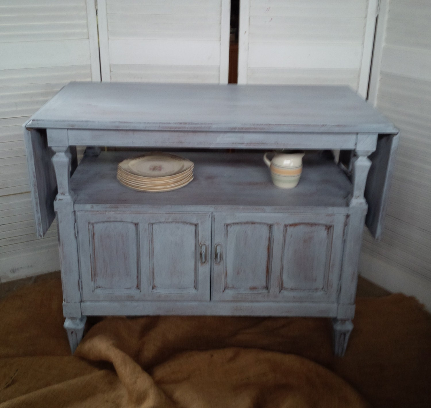 French Market Drop Leaf Buffet Server In Grey Wash Finish Vintage Poppy Cottage Painted