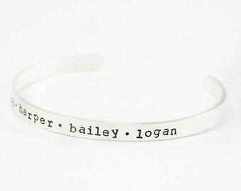 Sterling Silver Cuff Bracelet, Cuff Bracelet with Names, Sterling Cuff Name Bracelet, Mommy Jewelry, Mom Bracelet, tagyoureitjewelry