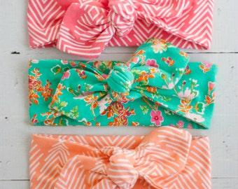 Baby Knot Headband, Baby Turban Headband, Baby Headwrap, Turban Headband, Toddler Knotted Headband, Top Knot - Coral, Peach, Aqua Floral