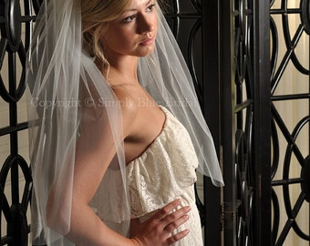 Two Tier Wedding Veil with Raw Cut Edge - White, Diamond White, Ivory, Champagne, Blush