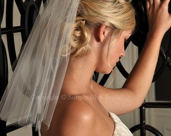 Short Veil - Shoulder Length Veil with Raw Cut Edge in White, Diamond White, Light Ivory, Ivory, Blush or Champagne