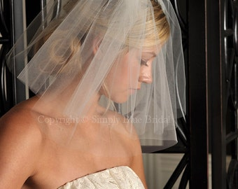 "Short Veil - FULL Shoulder Length Veil 108"" wide with Raw Cut Edge in White, Diamond White, Ivory, Blush or Champagne"
