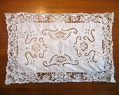 Linen Doily Placemat, Cut Work, Shabby Chic, French Country Decor, Wedding Decor, Cutter Fabric