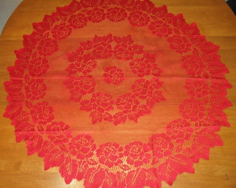 Red Vintage Doily Red Roses Machine made, Shabby Chic, by NormasTreasures on etsy