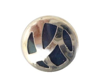 Art Deco Chrome Metal Blue Sleeve Button (00327)*Available in Quantity*