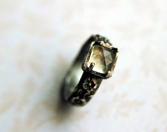 Sterling silver ring - Citrine stone ring, Yellow stone ring, Silver ring, Ring size 6
