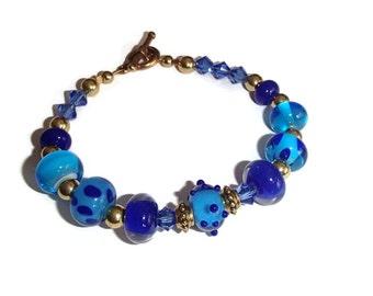 Lampwork Bead Bracelet. Blue Lampwork Bracelet. Lampwork and Crystal Bracelet.