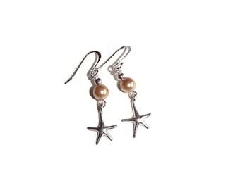 Beach Pearl Earrings. Starfish Earrings. Wedding Jewelry