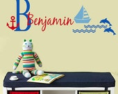 Wall Decal Childrens MONOGRAM Dolphin Boat Anchor Children Wall Decals EXTRA LARGE