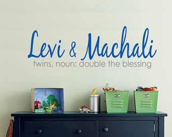 Childrens Wall Decal Twin Double Blessing MONOGRAM EXTRA LARGE