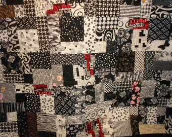 Queen Size Bed Quilt  / Double size quilt 71 Black and white Scrappy