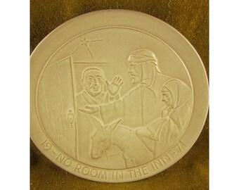 No Room at the Inn – 1971 Frankoma Christmas Plate – Vintage Sapulpa Clay Frankoma Pottery