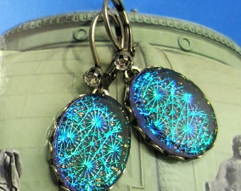Teal Blue and Green Starburst Vintage Glass Fire Opal Dangle Earrings with Antique Silver Setting and Earwire art deco earrings