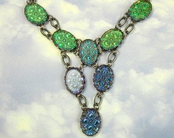 Iridescent Purple, Blue, and Green Vintage Glass Fire Opal Bib Necklace with Antique Silver Setting and Chain