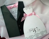 ALL DRESSED UP Dress and Tux Wedding Invitation Sets - Ballgown - Sample