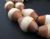 22 Inlaid Ebony and Bone Tanzanian Bicone Beads - African Wood Beads - Jewelry Making Supplies - Made in  + (BON-BIC-WHT-269)