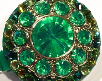 Swarovski Olivine, Kelly, Grass Green Swarovski Crystal Embellished Retractable ID Badge Reel