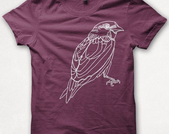Womens Tshirt, Graphic Tee,  Bird Shirt, Sparrow, Screenprinted Shirt - Bordeaux
