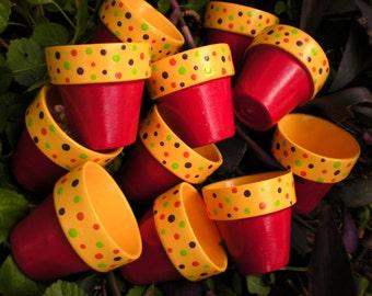 Small Flower Pots - Polka Dot Pots - Candy Theme - Kids Party Favors