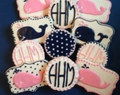 Preppy Whale Cookies-1 Dozen  ***Minimum 2 Weeks for Delivery***