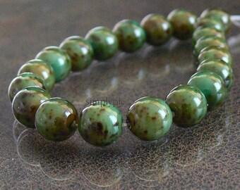 Green Moss Picasso Czech Glass Beads, 8mm Round Druk 20