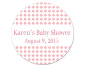 Personalized Baby Shower Stickers - Custom Labels - Shower Stickers - Favor Labels - Dots Stickers - Polkadots - Baby Shower Favors