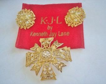 Kenneth Jay Lane  Gold Tone Clear Rhinestone Maltese Cross Brooch Clip Earrings