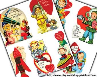 Spaceman Valentine Vintage Printable Digital Download