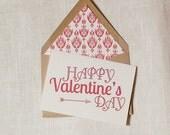 Valentine's Day Card Red and Kraft Ikat Envelope Liner Friend Valentine by Dodeline Design