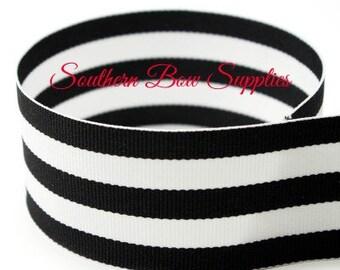 1.5 inch Grosgrain Ribbon-----3 Yards-----Stripes-----Black White------Hair bow Making Supplies