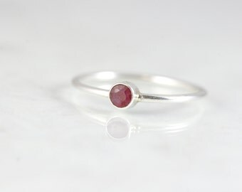 July Birthstone Ring - Sterling Silver Ruby Stacking Ring - Mom Ring - Birthstone Stacking Ring - Birthstone Rings For Mom - Thin Band Ring