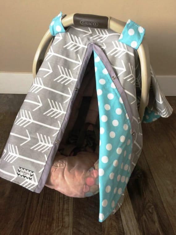 Car seat canopy Grey and Aqua Arrow  / Car seat cover / car seat canopy / carseat cover / carseat canopy / nursing cover