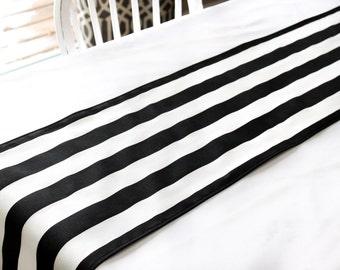Black & white stripe table runner, Choose length, Wedding table runner, Dining table runner, Table decor, black and white bridal shower