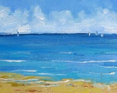Perfect Day, Framed 5 x 7 inch  (13 x 18 cm) oil painting on canvasboard by Yvonne Wagner. Meer. Mer. Bateaux.. See. Sea.  Seascape.