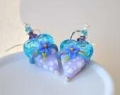 Blue Earrings, Lampwork Earrings, Heart Earrings, Glass Bead Earrings, Purple Earrings, Large Heart Earrings, Mother's Day Jewelry