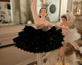 Black Swan. Vintage Style Ballerina Doll Toppers with Ruffled Tutus, White or Black